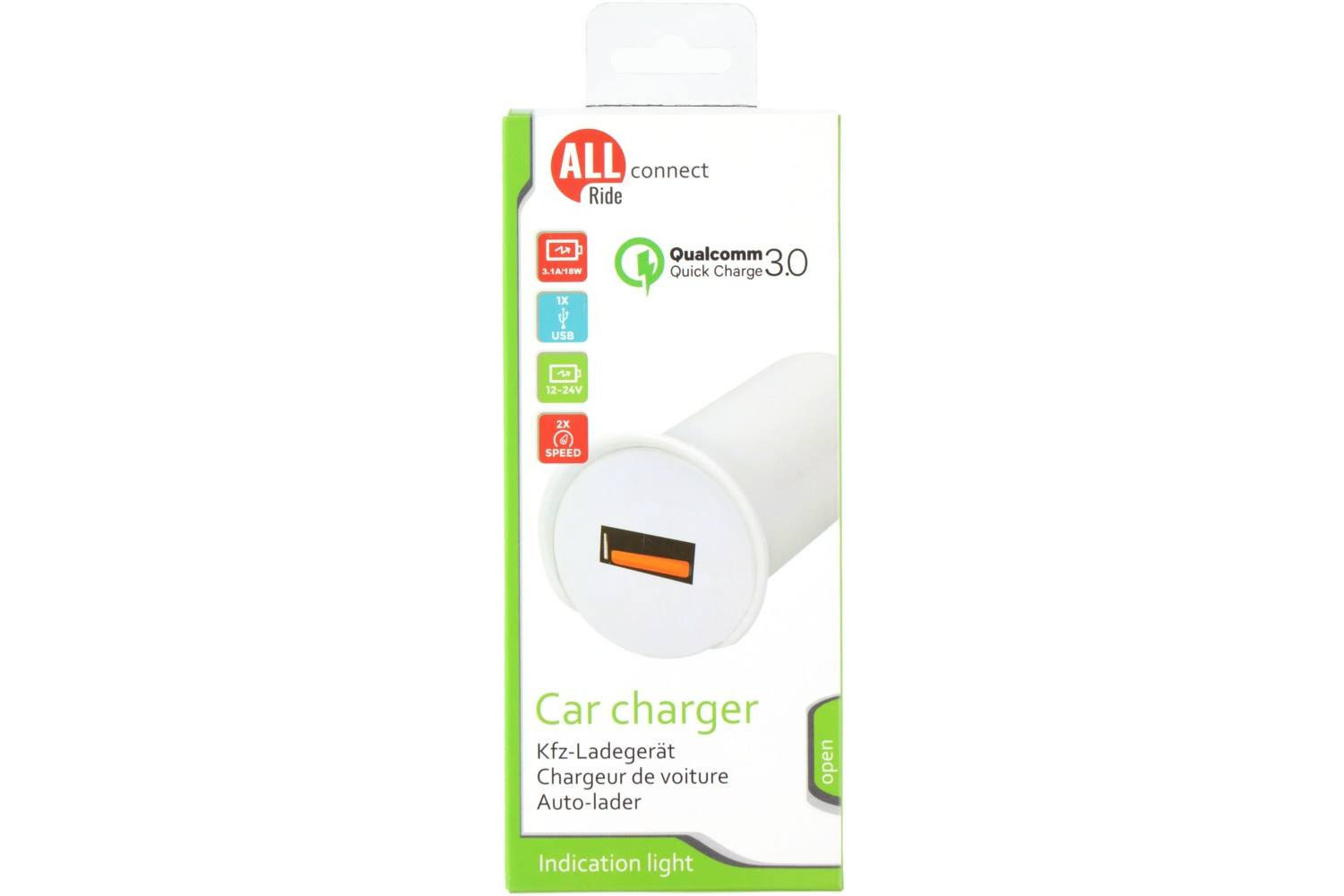 Aanstekerplug oplader, AllRide Connect, 1 USB, Qualcomm Quick Charge 3.0, 12-24V, 3,1A 2