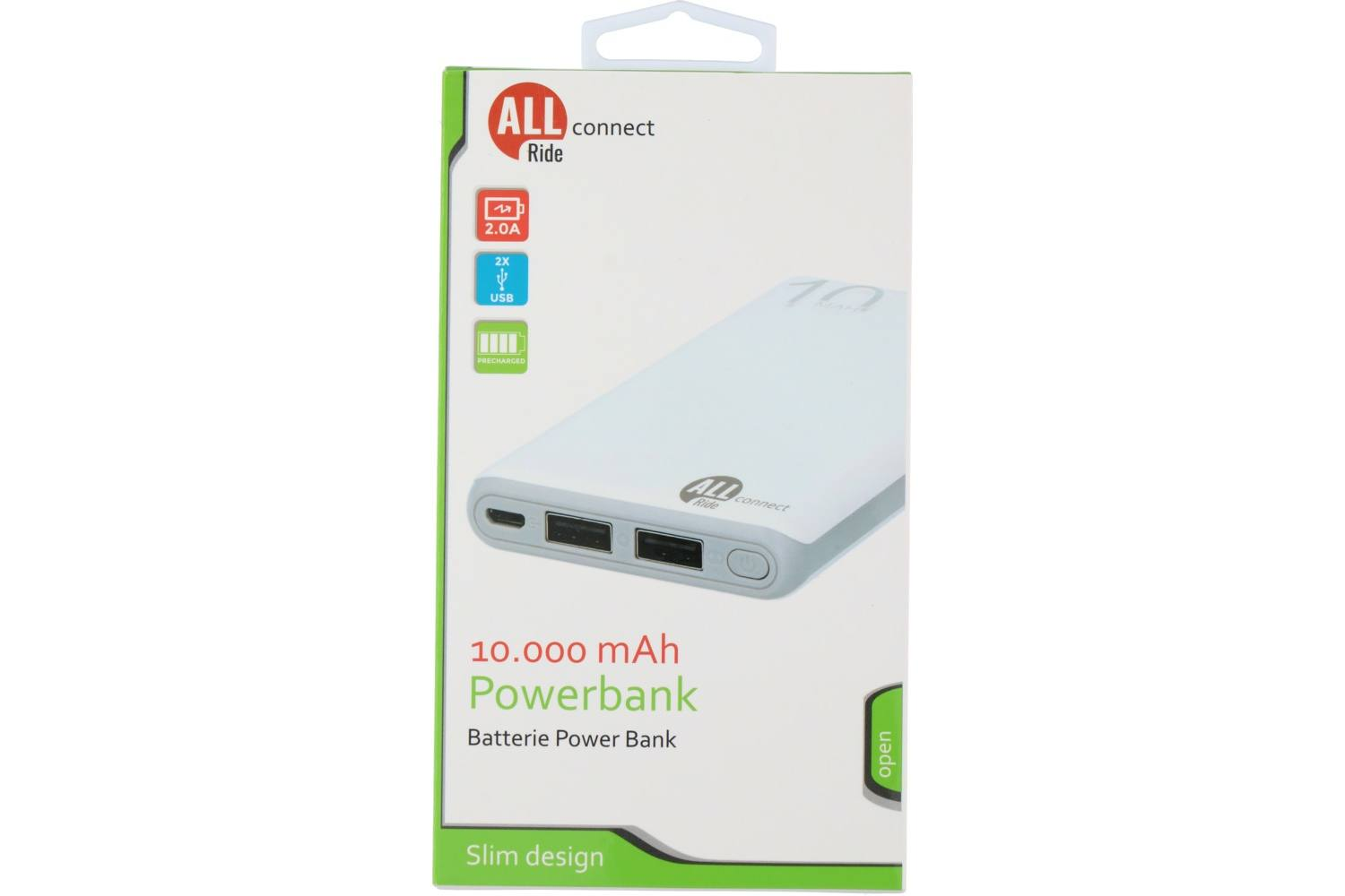 Powerbank, AllRide, Connect, 2 x USB A, 10000mA 2