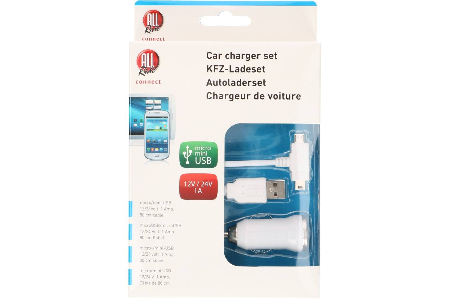 Chargeur allume-cigare et câble usb, AllRide Connect, micro and mini usb 2